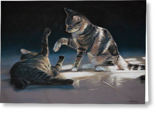 Cats Playing Greeting Card by Christopher Reid