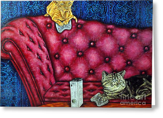 Cats Playing X Box Greeting Card by Jay  Schmetz