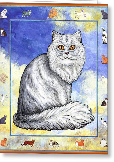 Cats Purrfection Three - Persian Greeting Card by Linda Mears