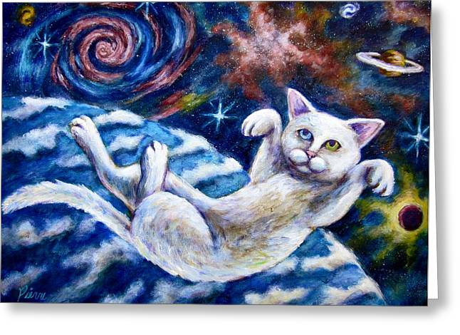 Catstronaught Greeting Card by Sebastian Pierre