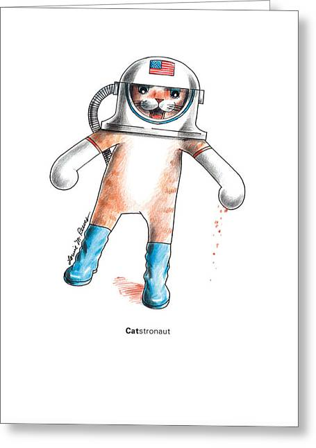 Catstronaut Greeting Card by Louise McClain Reeves