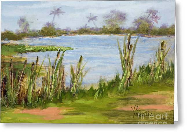 Greeting Card featuring the painting Cattails And Palms by Vic  Mastis