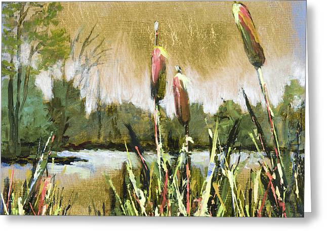Cattails At Forest Park Greeting Card by Vic  Mastis