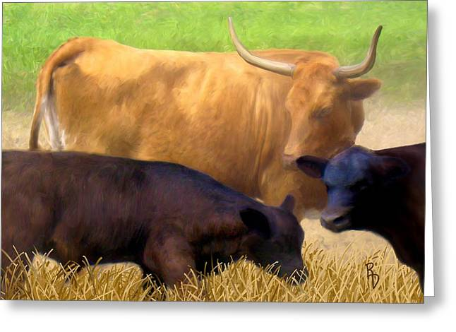 Cattle Call Greeting Card by Ric Darrell