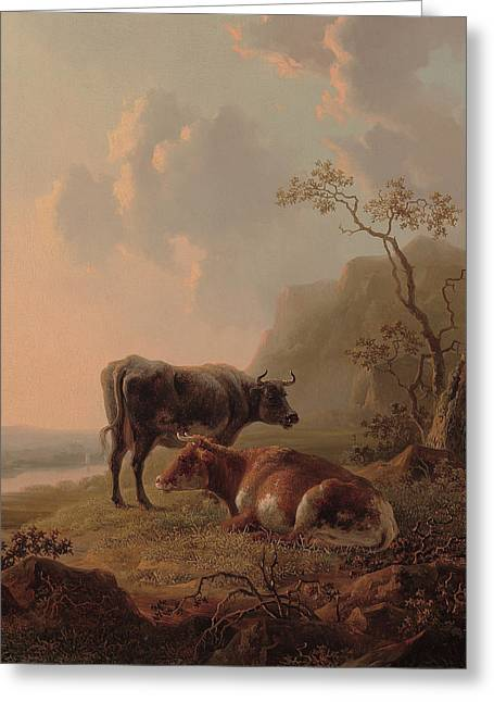 Cattle In An Italianate Landscape Greeting Card by Jacob van Strij