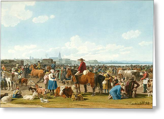Cattle Market Before A Large City On A Lake Greeting Card