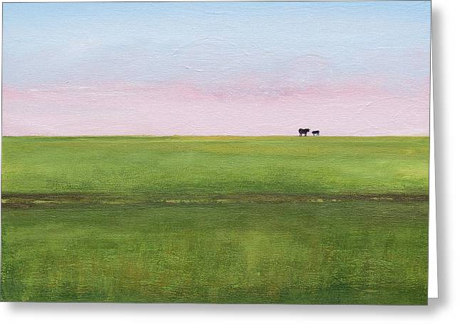 Cattle On The Levee Greeting Card
