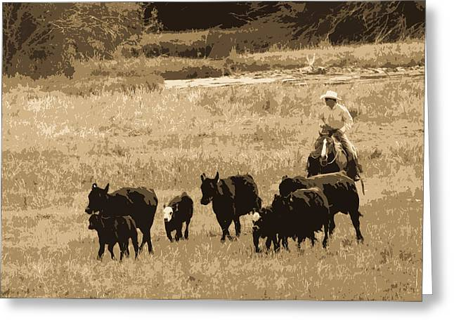 Cattle Round Up Sepia Greeting Card