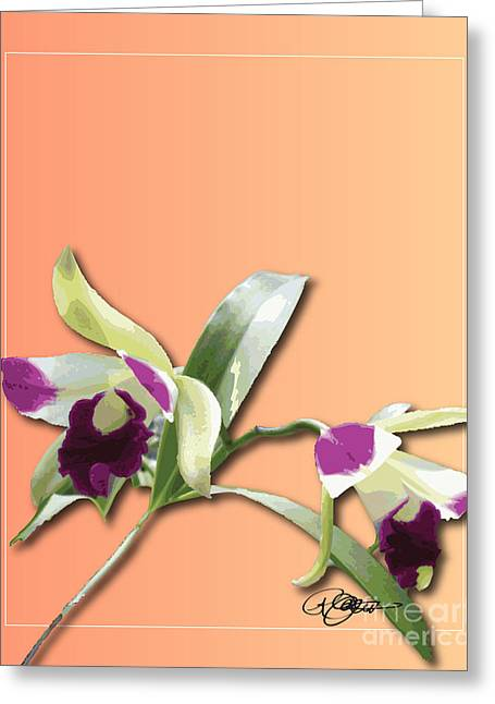 Cattleya Triage Dafoi Art 1 Of 3 Greeting Card