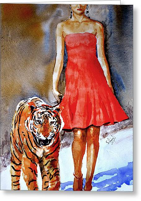 Greeting Card featuring the painting Catwalk by Steven Ponsford