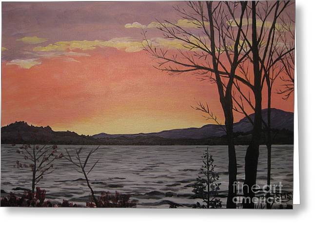 Caucomgomoc Lake Sunset In Maine Greeting Card