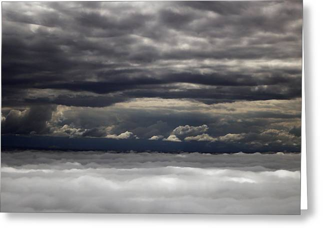 Caught Between Two Cloud Layers Greeting Card by Michael Riley