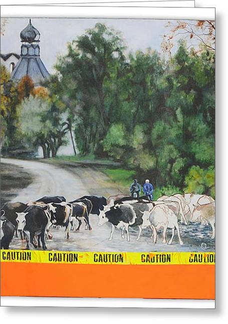 Caution Greeting Card by Angel Diaz
