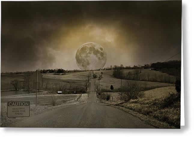 Caution Road Greeting Card by Betsy Knapp