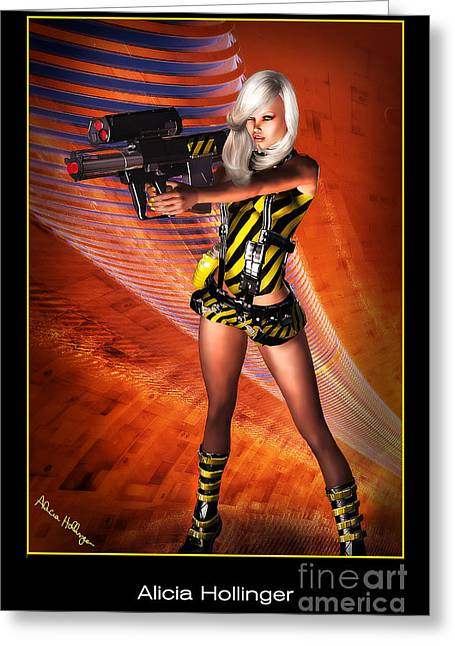 Caution Sci-fi Blonde With A Gun Greeting Card