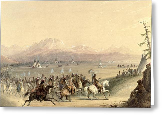 Cavalcade Greeting Card by Alfred Jacob Miller