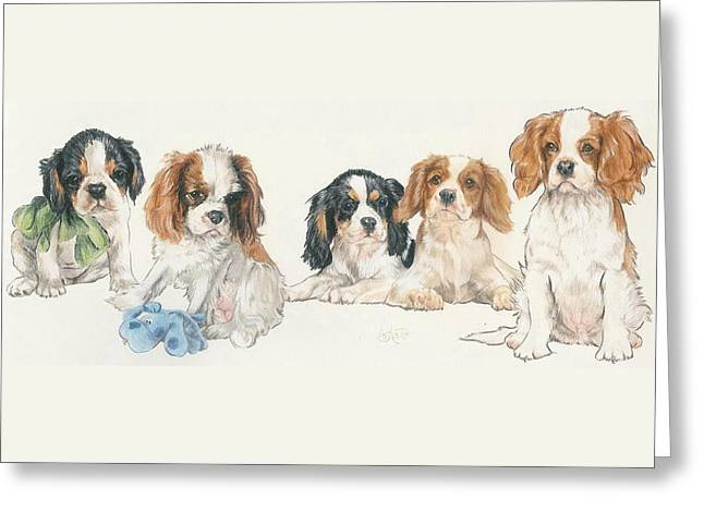 Cavalier King Charles Spaniel Puppies Greeting Card by Barbara Keith
