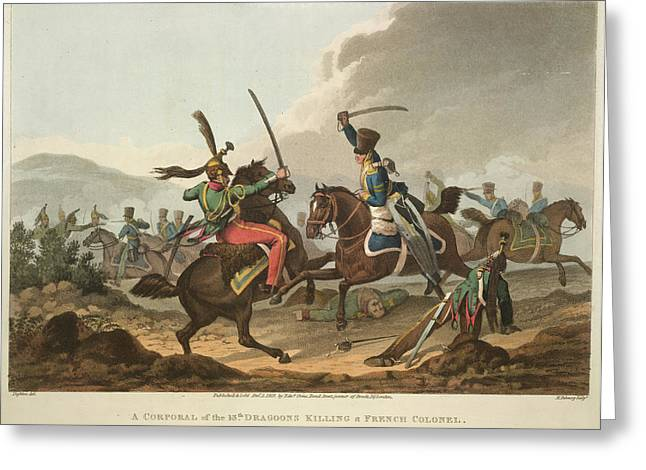 Cavalry Fighting Greeting Card by British Library