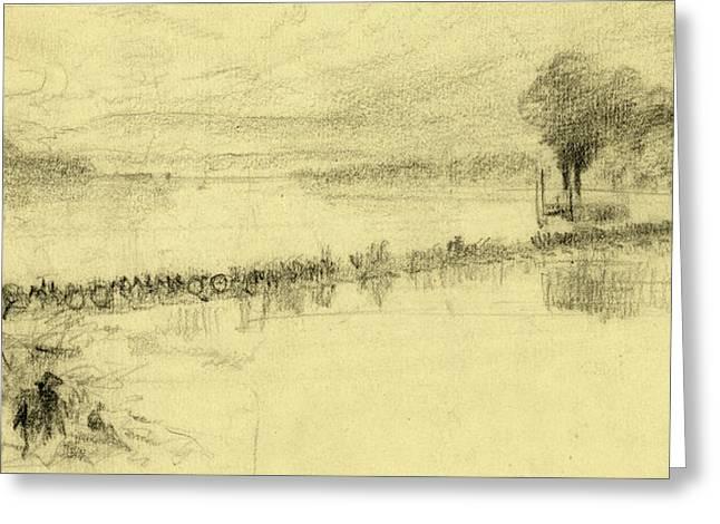 Cavalry Riding Across A Pontoon Bridge, 1860-1865, Drawing Greeting Card
