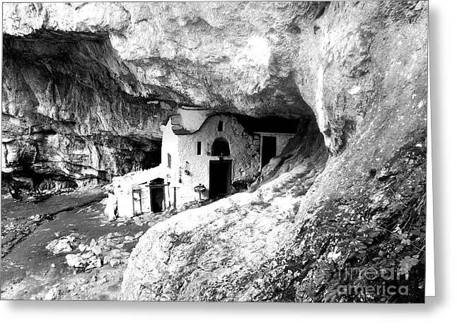 cave church on Mt Olympus Greece Greeting Card by Nina Ficur Feenan
