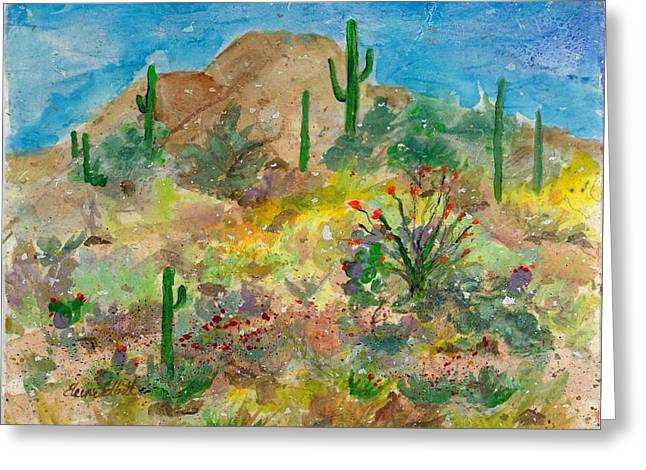 Greeting Card featuring the painting Cave Creek Ocotillo Bloom by Elaine Elliott