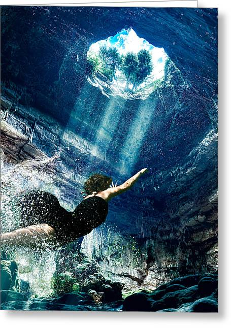 Cave Dive Greeting Card by Vessela Banzourkova