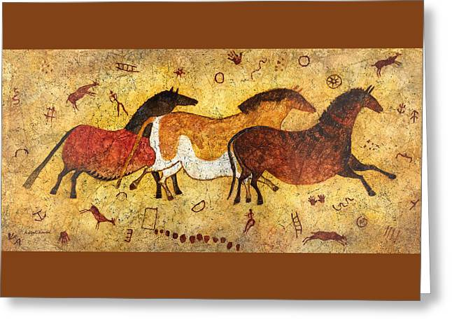 Cave Horses Greeting Card by Hailey E Herrera