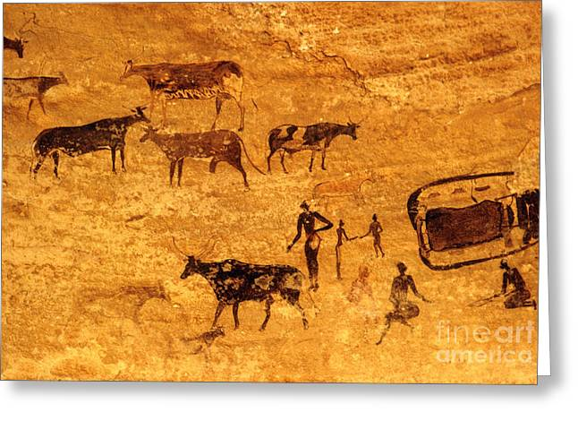 Cave Painting South Algeria Greeting Card by George Holton