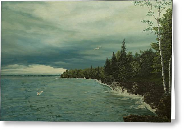 Cave Point Greeting Card by James Willoughby III