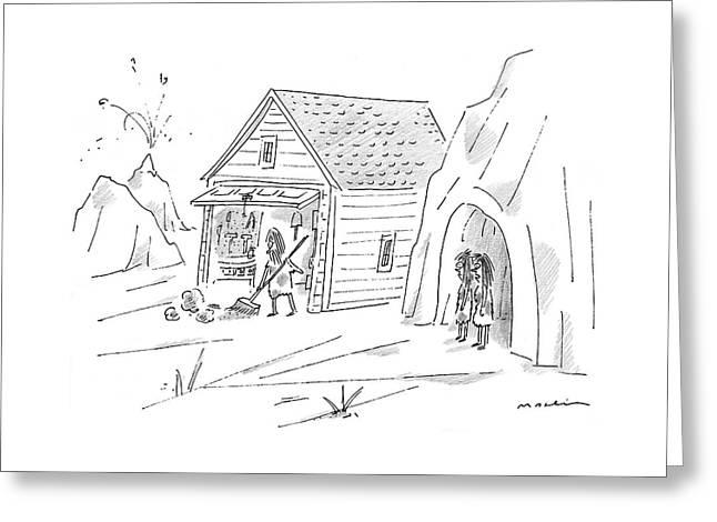 Caveman Sweeping Up His Garage Greeting Card
