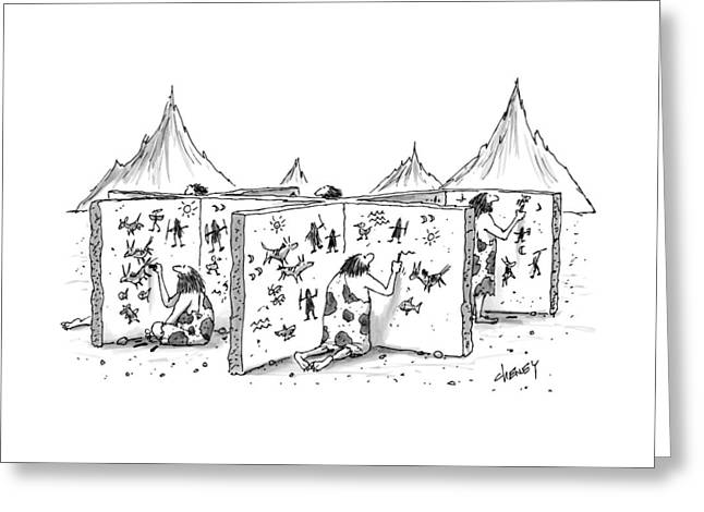 Cavemen Are Seen Carving Into Walls In The Form Greeting Card