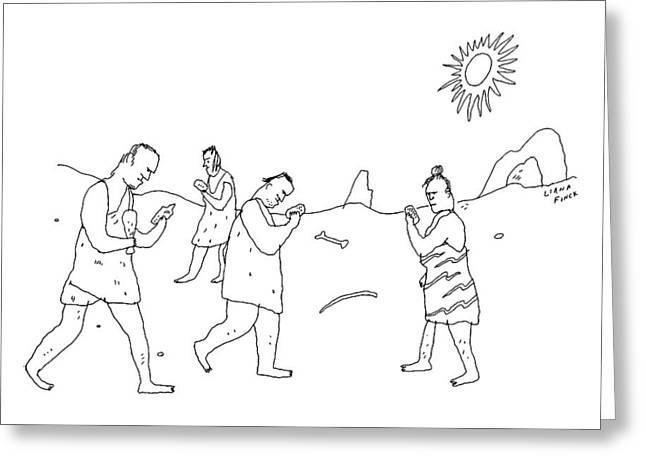 Cavemen Walk Around Fixated On Rocks Greeting Card