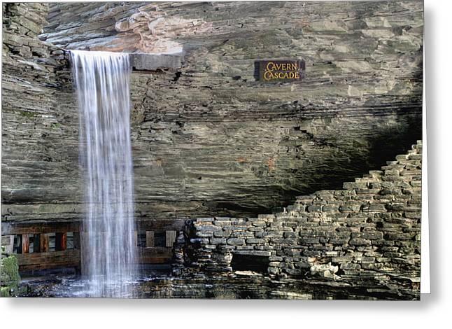 Cavern Cascade Greeting Card by Gene Walls