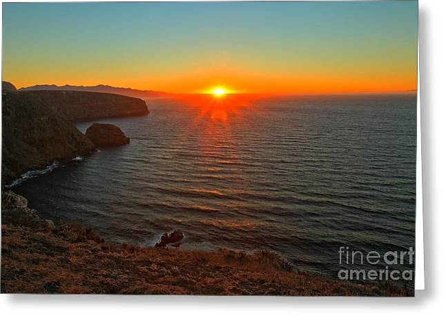 Cavern Point Sunset Greeting Card by Adam Jewell