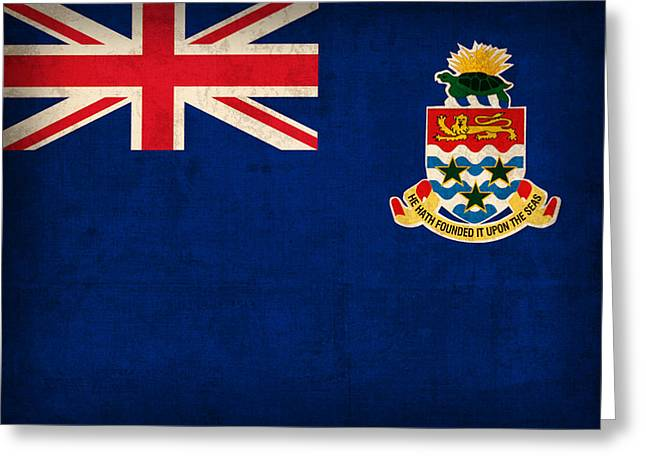 Cayman Islands Flag Vintage Distressed Finish Greeting Card by Design Turnpike