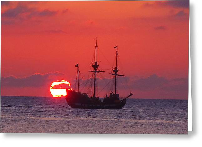 Cayman Sunset Greeting Card by Carey Chen