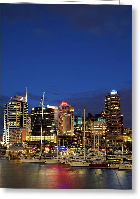 Cbd And Viaduct Harbour, Auckland Greeting Card by David Wall