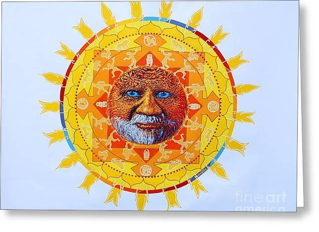 Cbs Sunday Morning Sun Mandala Greeting Card by Gail Allen