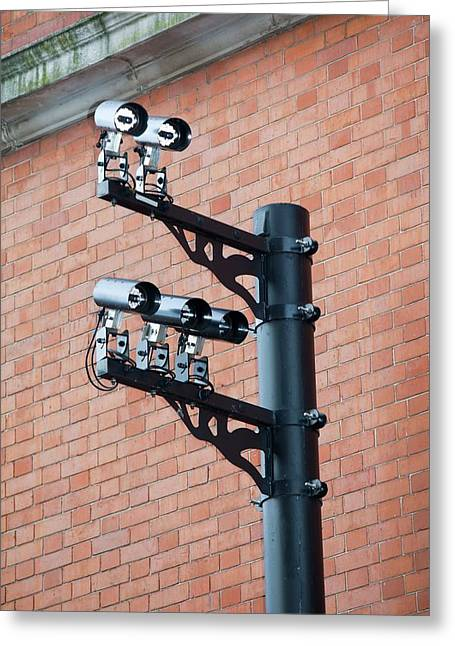 Cctv Cameras Greeting Card by Ashley Cooper