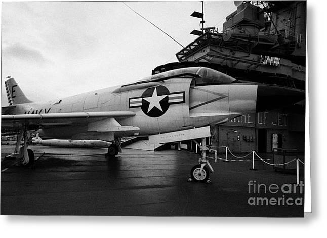cDonnell f3 F3H2N F3B demon on the flight deck on display at the Intrepid Sea Air Space Museum Greeting Card by Joe Fox