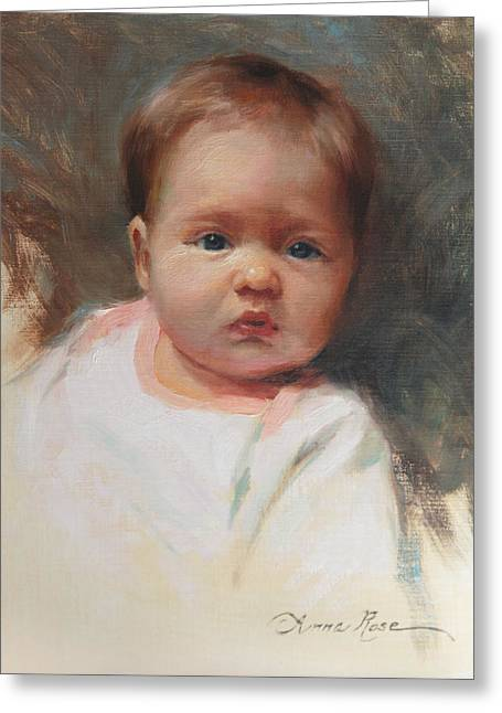 Cece At 4 Months Old Greeting Card by Anna Rose Bain