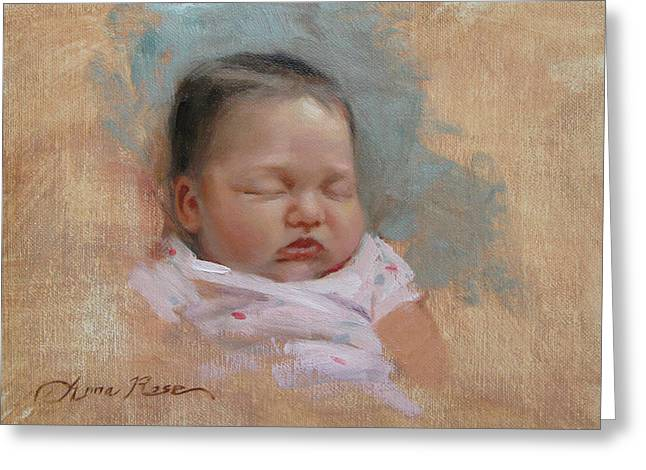 Cece At 5 Weeks Old Greeting Card by Anna Rose Bain