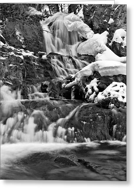 Cedar Creek Falls Black And White Greeting Card by Leland D Howard