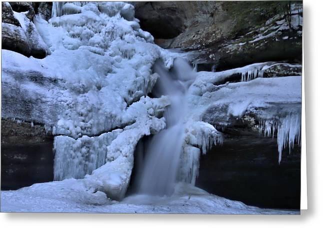 Cedar Falls In Winter At Hocking Hills Greeting Card