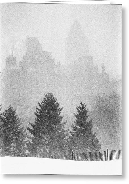 Greeting Card featuring the photograph Cedar Hill Snow Shapes by Dave Beckerman