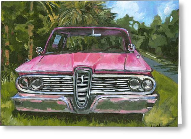 Cedar Key Edsel - Front Greeting Card by Lisa Whitener