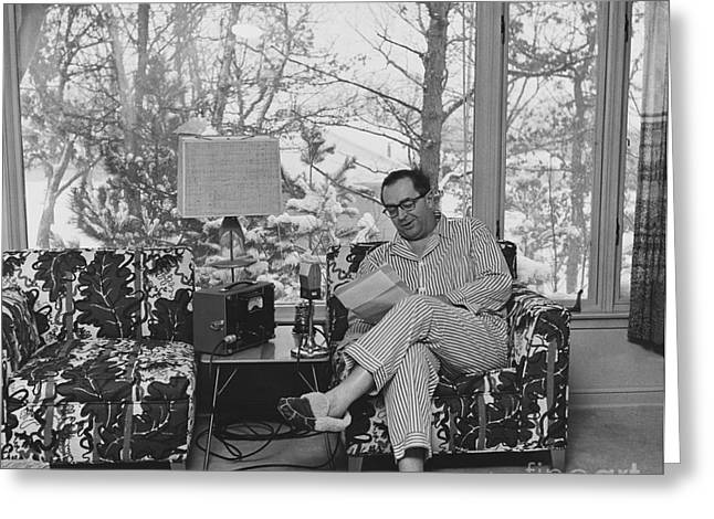 Cedric Adams Broadcasting From Home Greeting Card by George Leavens