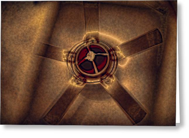 Ceiling Fan Reflected In Ipad Greeting Card