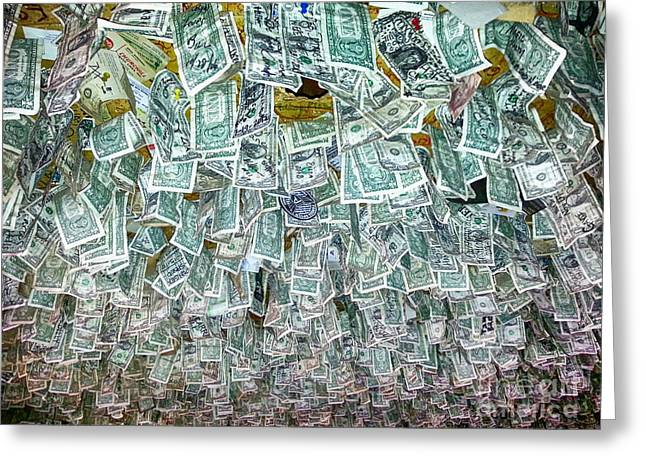 Ceiling Of Dollar Bills  Greeting Card by James BO  Insogna
