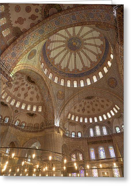 Ceiling Of Sultan Ahmed Mosque Greeting Card by David H. Wells